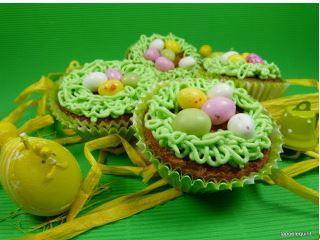 Muffins pistache, petits nids pour Pâques