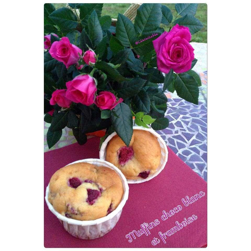 Muffin chocolat blanc / framboises