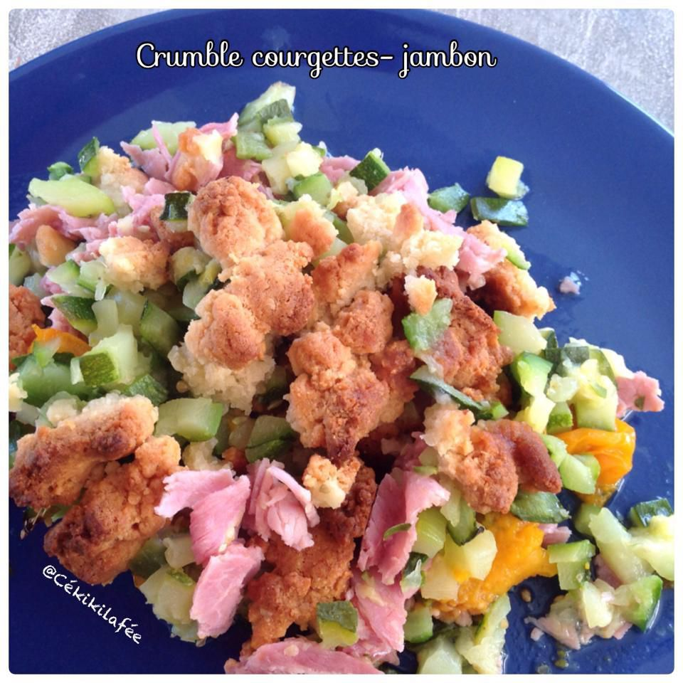 Crumble courgette jambon tomate