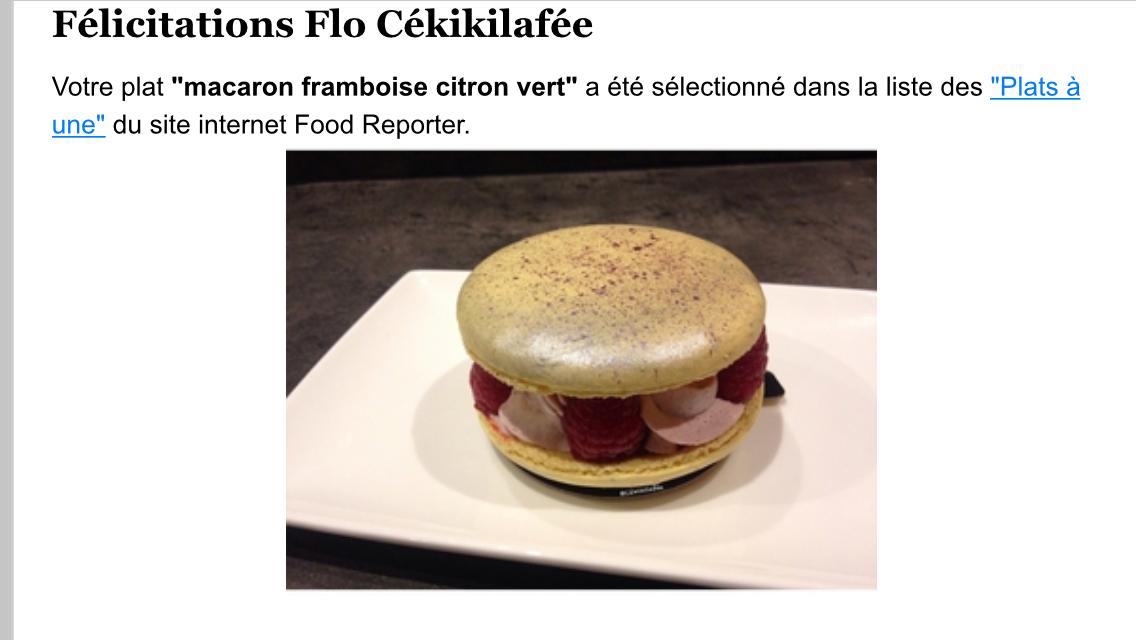Mon p'tit dessert a fait le une de Food Reporter !!!!