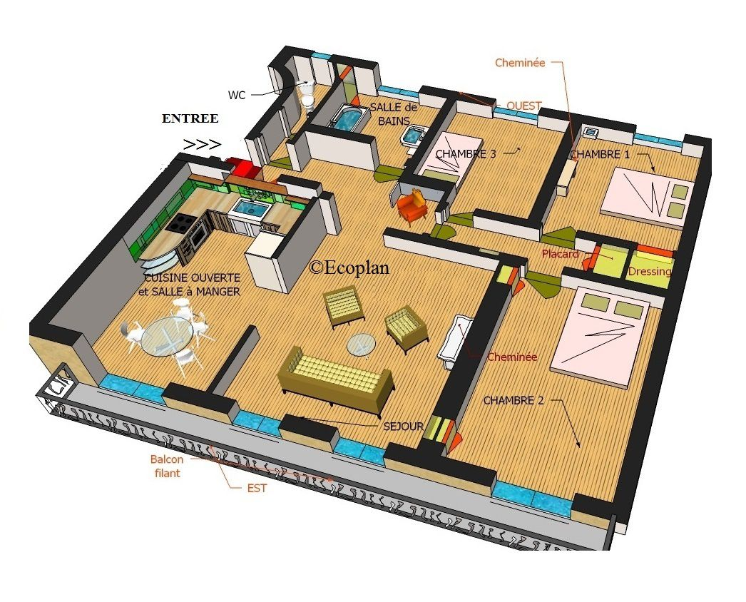 Plan appartement 75m2 for Plan appartement