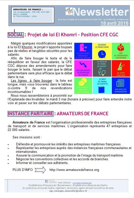 La newsletter de la section syndicale CFE CGC à la CMA CGM