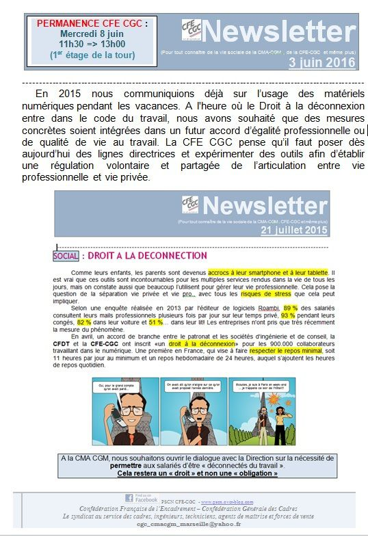 NEWSLETTER DE LA SECTION SYNDICALE CFE CGC - CMA CGM