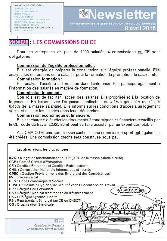 Newsletter 8 avril - CFE CGC - CMA CGM