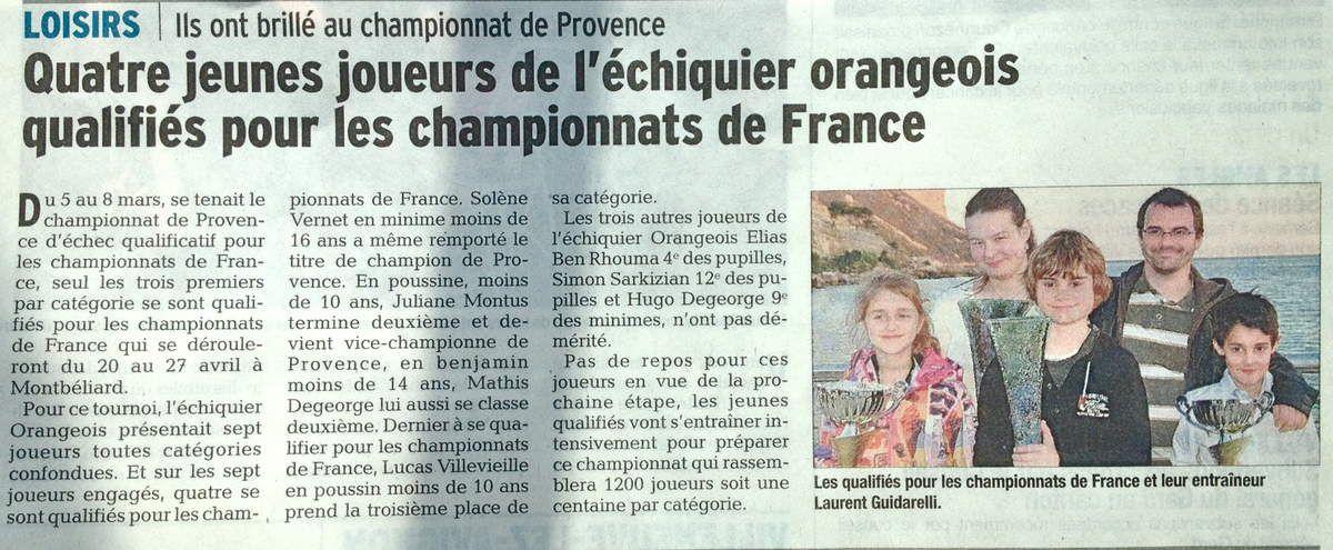 Articles de Presse Echiquier Orangeois saisons précédentes