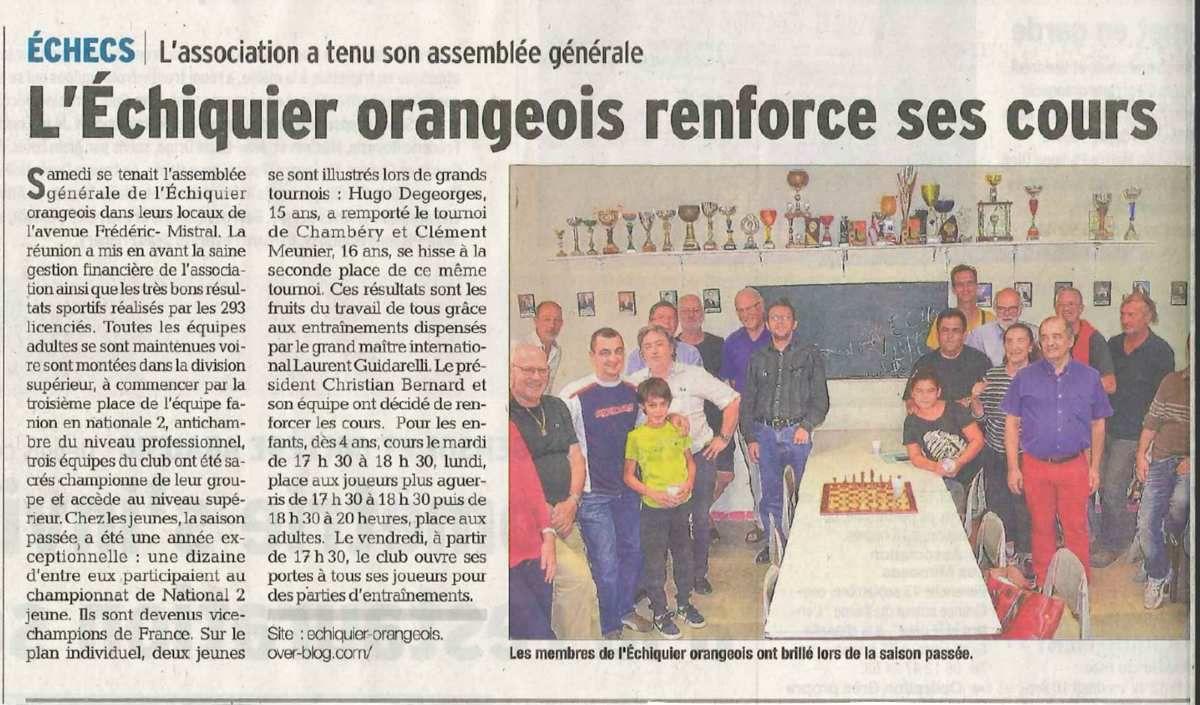 L'Echiquier Orangeois dans le Dauphiné Libéré du 09/09/15