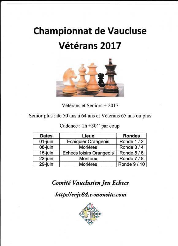 Tournoi Échecs : Championnat Vaucluse des vétérans (et Séniors +) Jeudi 1er Juin à Orange