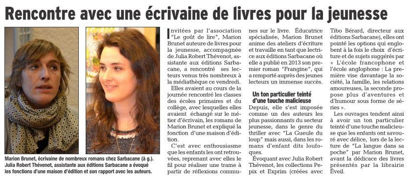 Retour Presse le Dauphiné LIbéré 13 Mars 2017