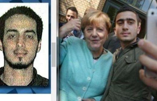 La coupe est pleine = Angela Merkel faisant un selfie avec l'un des futurs kamikazes de Bruxelles.