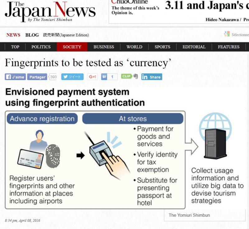 LE JAPON VALIDE LE PAIEMENT PAR EMPREINTE DIGITALE + EFFET DESASTREUX DES TAUX NEGATIFS