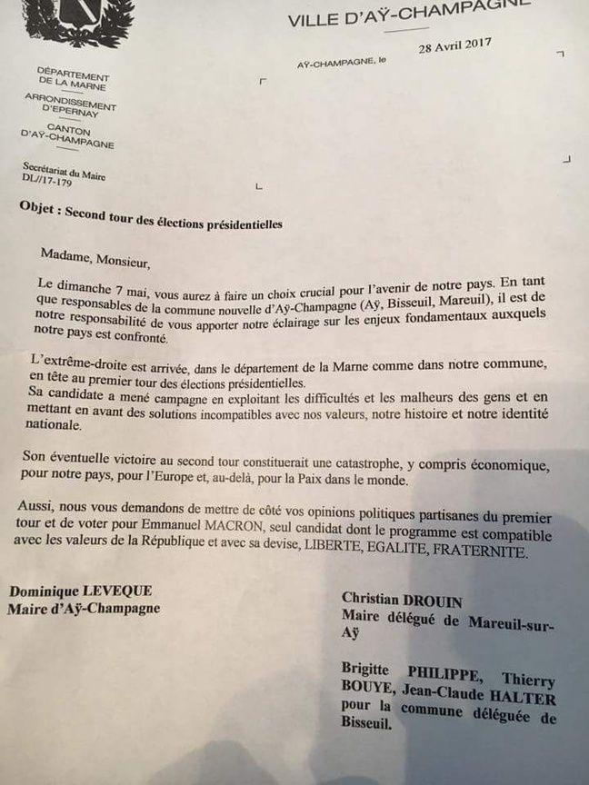 Une copie du courrier envoyé par le maire d'Aÿ-Champagne avec ses deux édiles délégués nous a été envoyé par des lecteurs. - DR.