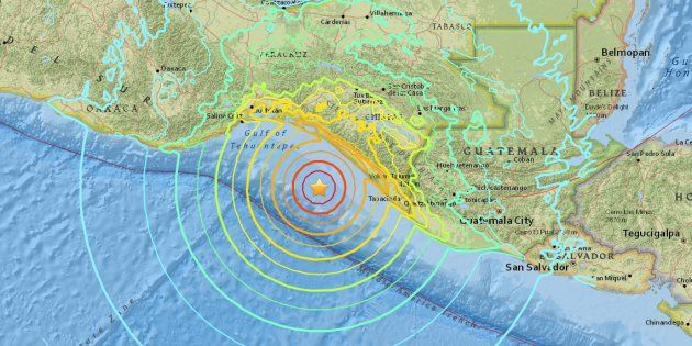MAJ ALERTE Violent séisme 8,1  dans le Pacifique, au large du Mexique et du Guatemala + Une alerte au tsunami a été automatiquement émise.