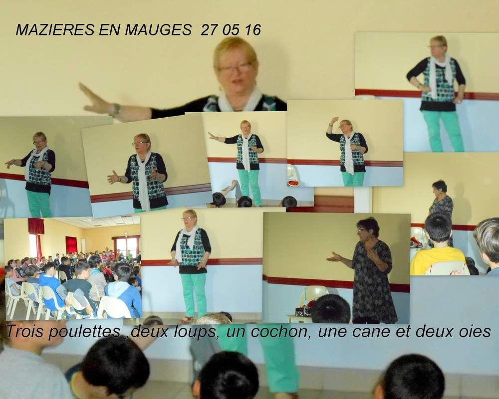 Ecole de Mazières en Mauges, deux séances contes: pour la Maternelle, pour le Primaire