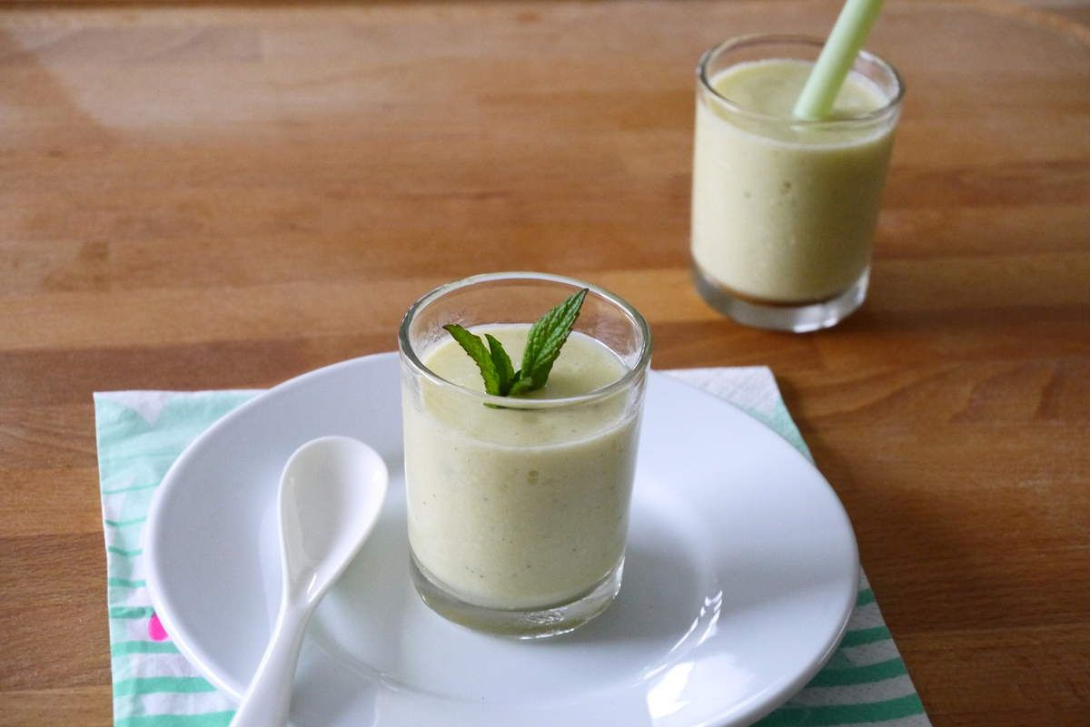 Gaspacho concombre, menthe et mangue