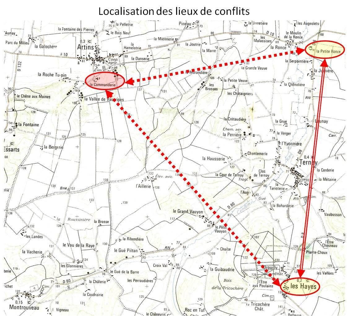 Localisation des lieux (carte IGN : 25000, 19/20 ouest)