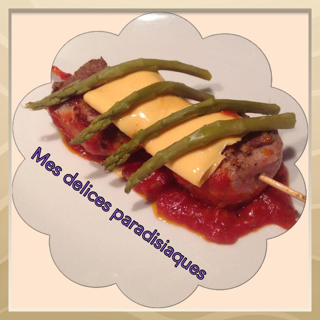Osso-bucco sauce tomate toastinette cheddar et asperges vertes