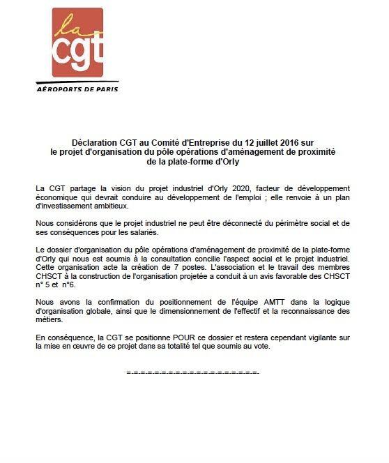 Declaration des élus CGT au Comité d'entreprise sur le  projet de réorganisation du pole aménagement proximité D'Orly SUD