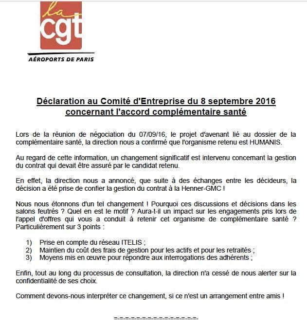Déclaration des élus CGT au comité d'entreprise sur la complémentaire santé