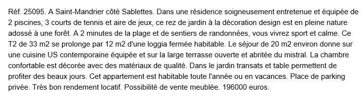 descriptif appartement de saint mandrier dans le var 83