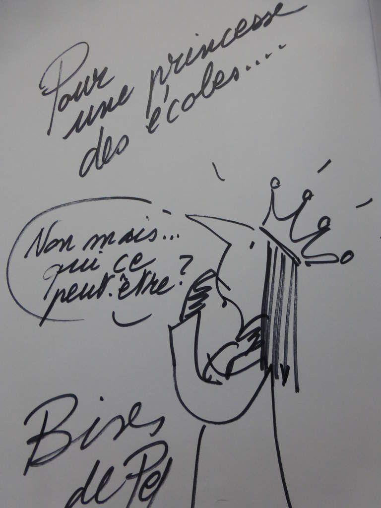 Mon portrait dessiné par Pef. Je suis très interrogative face aux subtilités de l'orthographe (en pleine mutation) à enseigner à mes Princes de Motordu