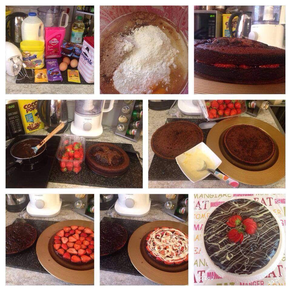 Gâteau Danette au chocolat � et fraise �)