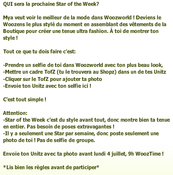 Le nouveau star of the Week !