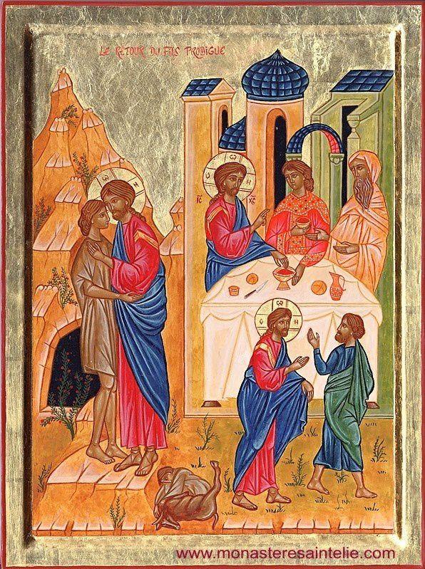 Le retour du fils prodigue. Icône du Monastère Saint-Elie (Carmel de rite byzantin, 21500 Saint-Rémy)