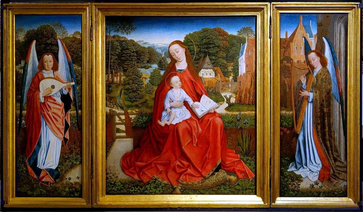 Maître du feuillage en broderie ( Flandres vers 1480-1510) : Triptyque de la Vierge à l'enfant entourée d'anges musiciens (Palais des Beaux-Arts de Lille).
