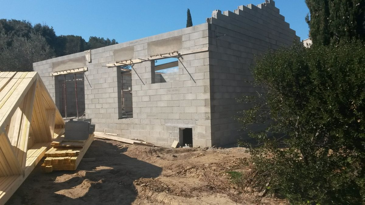 la charpente à ete livre le 11 mars et les murs ont bien montés!!
