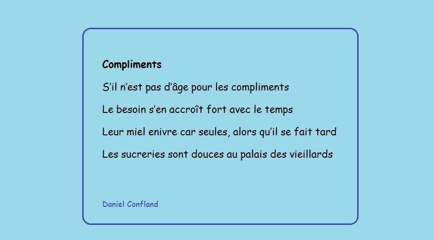 Mon poème du jour sur les compliments