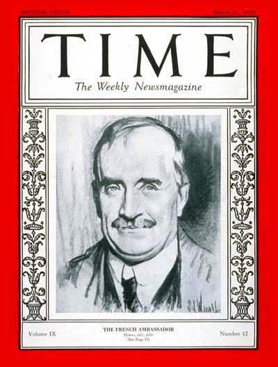 Paul Claudel, ambassadeur de France à Washington. Couverture de Time Magazine du 21 mars 1927 (photo Wijipédia CC)