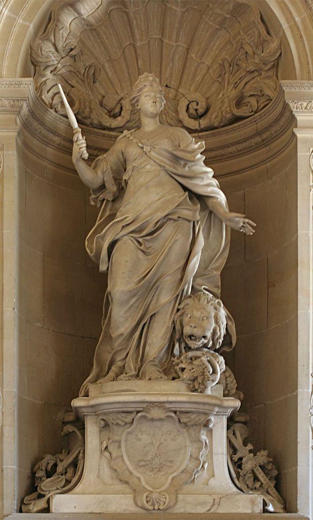 Magnanimité. 1726-1730. Figure allégorique de la magnanimité royale, par Jacques Bousseau, Château de Versailles, image Coyau, Wikipédia CC.