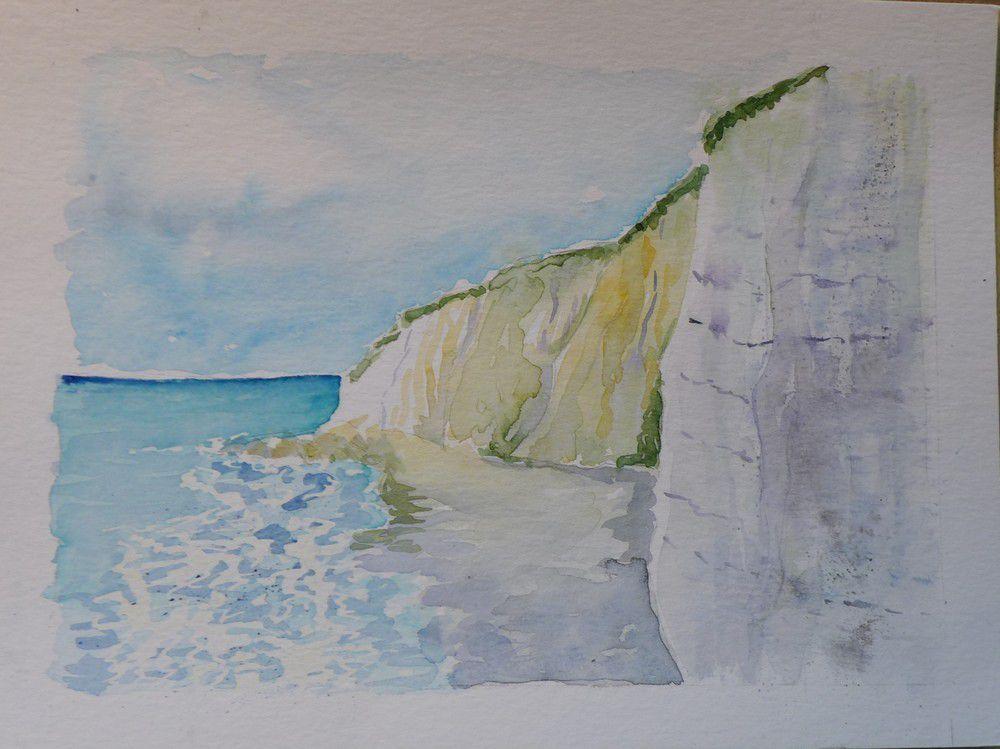 Autres aquarelles des falaises Normandes...