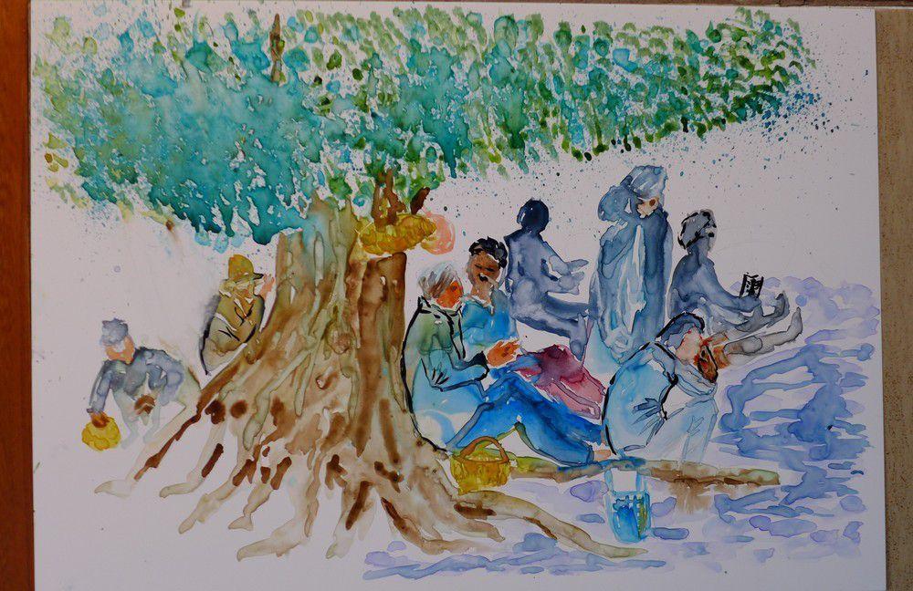 Pause à l'ombre d'un olivier : photo et aquarelle sur papier lanavanguard...