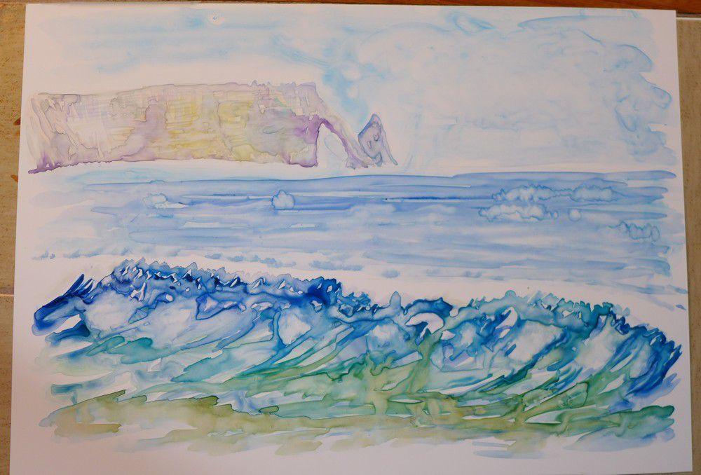 Aquarelles des falaises Normandes...
