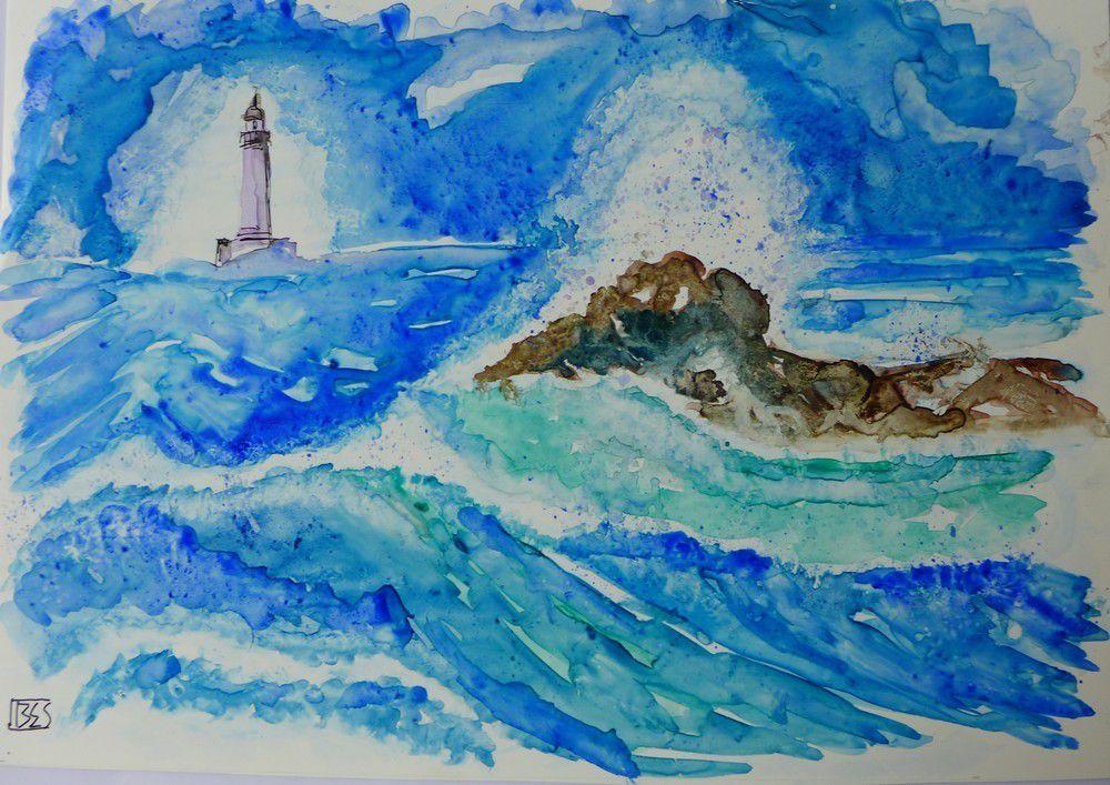 Aquarelles de mer démontée, sur papier Lanavanguard