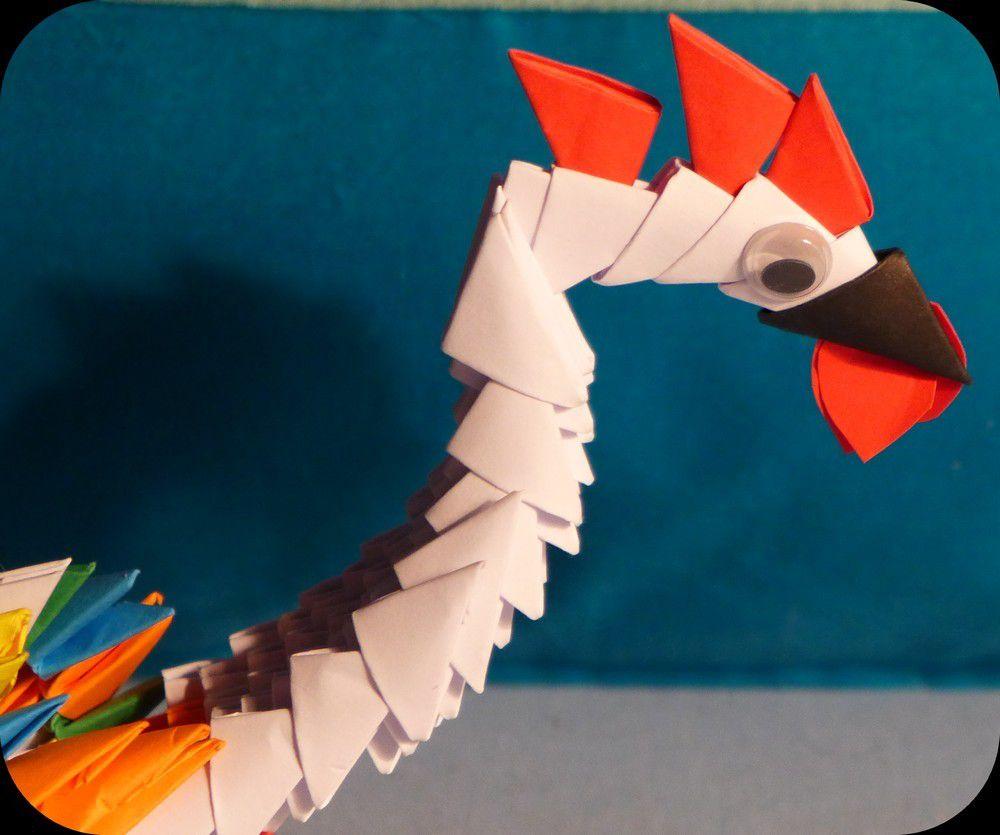 Un coq en origami modulaire...