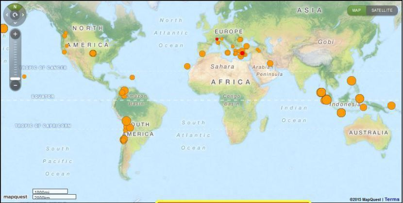 Live Earthquakes : Tremblement de terre en direct