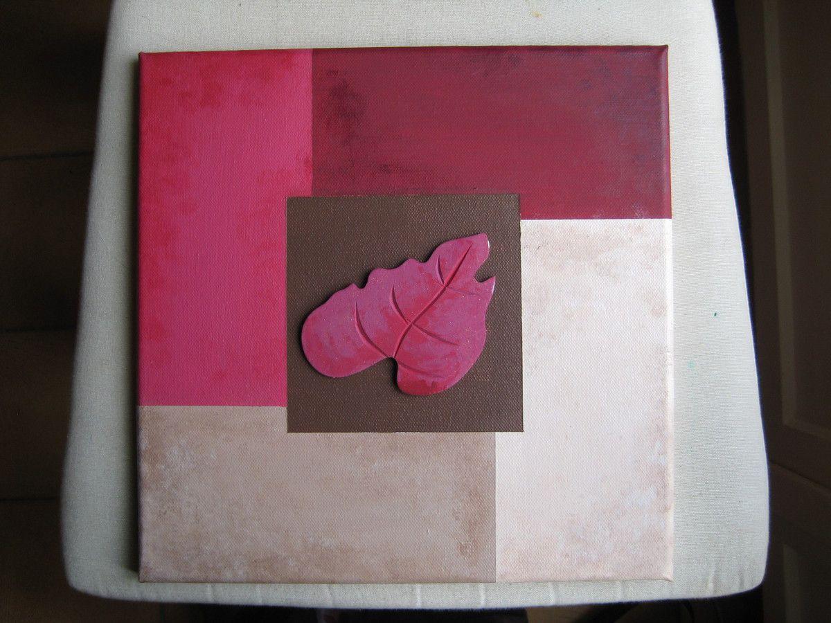 Tableau abstrait marron beige et framboise bordeau b - Mur framboise et gris ...