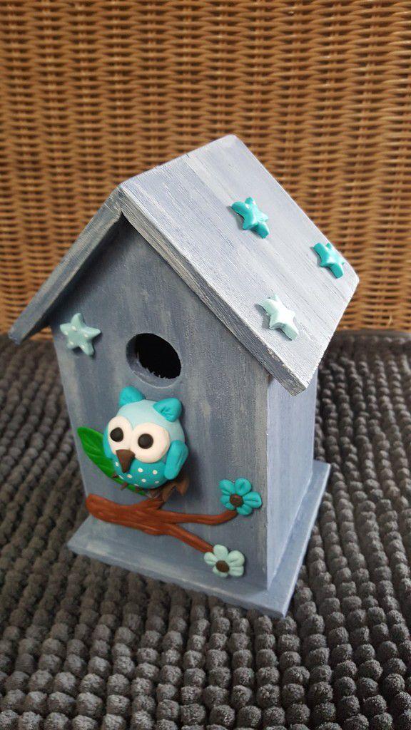 Cage à oiseaux personnage fimo bleue