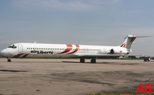Le Douglas MD-83 F-GHEC de la Compagnie française Air Liberté, le 21 mai 1993.