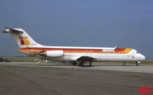 Douglas DC-9-32 EC-BYE de compagnie Iberia, le 09 juillet 1983.