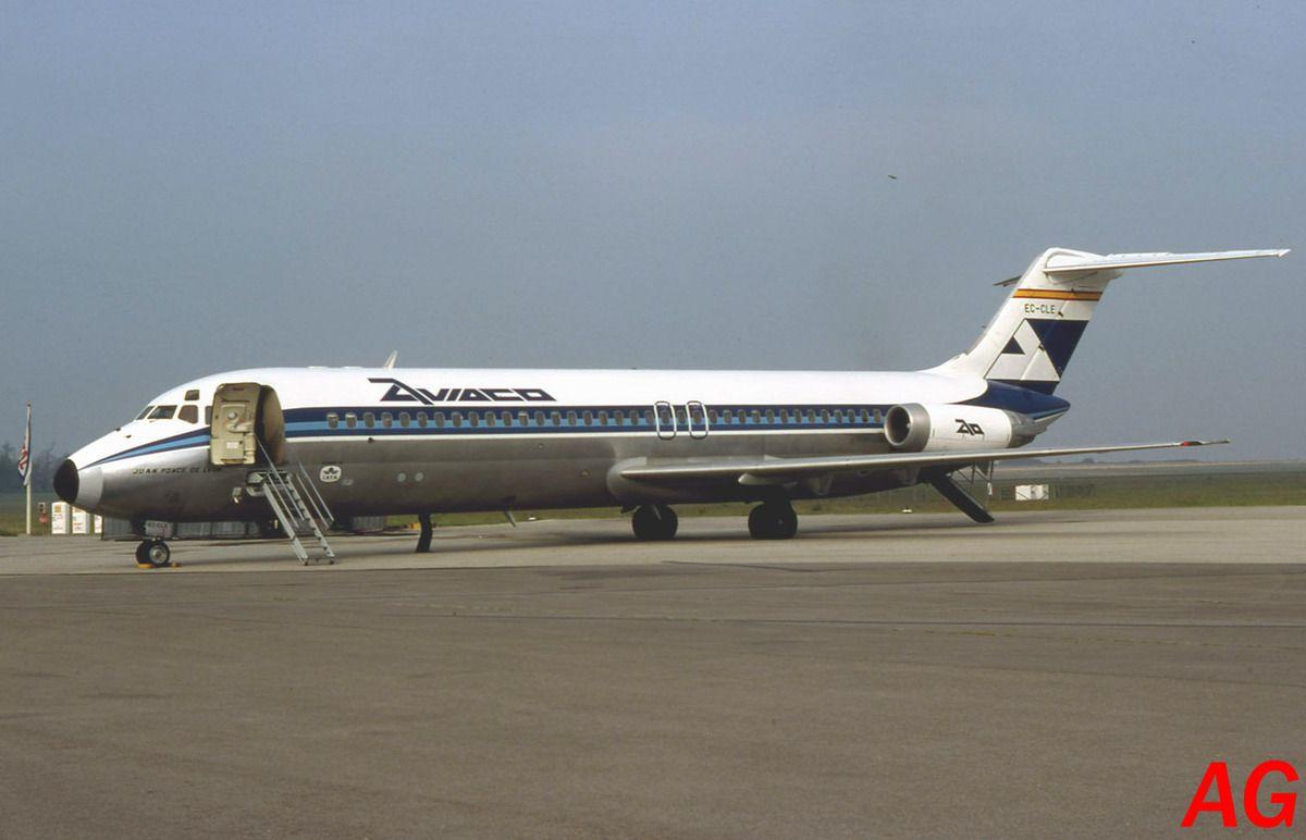 Le Douglas DC-9 EC-CLE de la compagnie Aviaco observé le 11 septembre 1982.