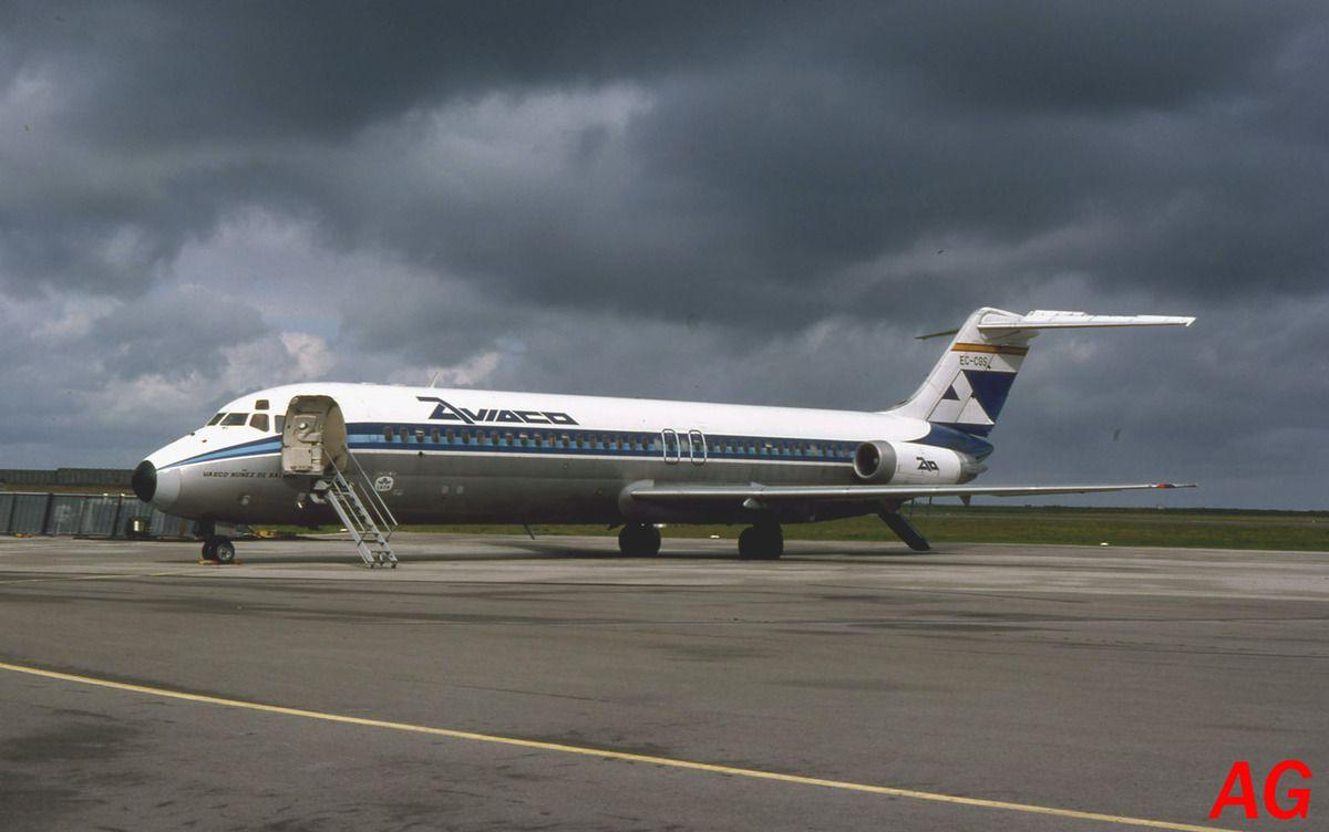 Le Douglas DC-9 EC-CGS de la compagnie Aviaco observé le 21 aout 1982.