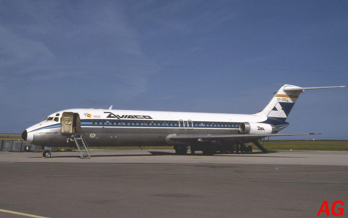 Le Douglas DC-9 EC-CGO de la compagnie Aviaco observé le 14 aout 1982.