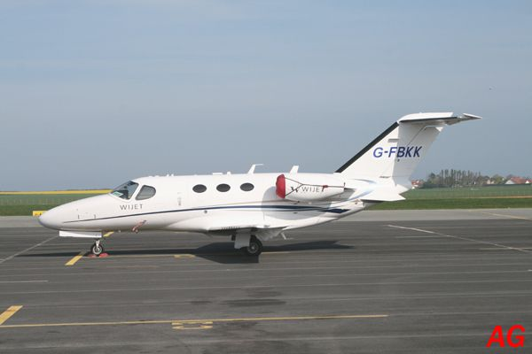 Le Cessna Citation Mustang G-FBKK.