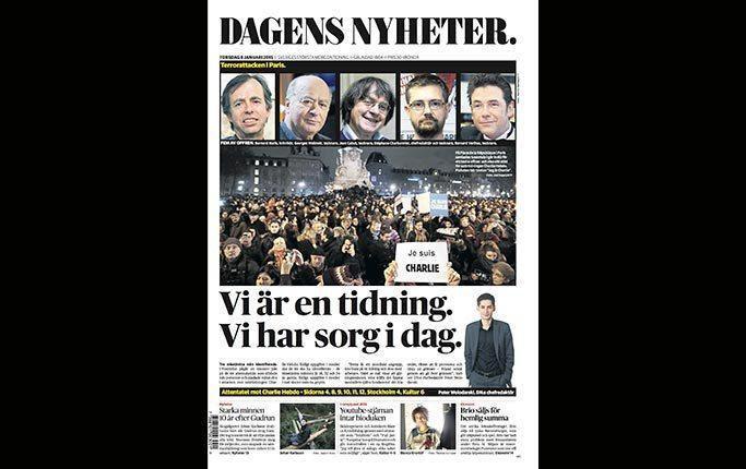 """Dagens Nyheter - Stockholm - 8 janvier 2015 :       """"Nous sommes un journal. Nous sommes en deuil aujourd´hui"""", titre le quotidien. """"Ceux qui attaquent la parole libre attaquent aussi nous-mêmes"""", écrit le rédacteur en chef Peter Wolodarski, et poursuit : """"Le choix de la cible montre que les auteurs ont cherché à atteindre le fondement même de la société ouverte : la parole libre, le droit de provocation, et le droit de repousser le limites – et de, parfois, les dépasser""""."""