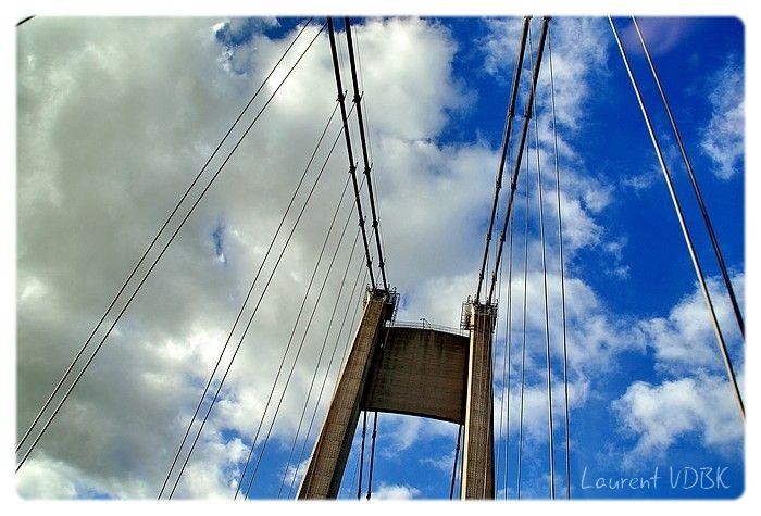 Pylône et haubans du pont de Tancarville