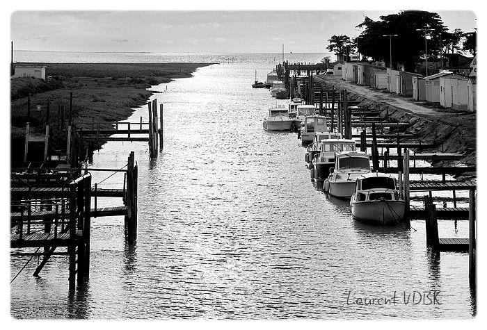 Le port du Collet dans le Marais Breton. Noir et blanc