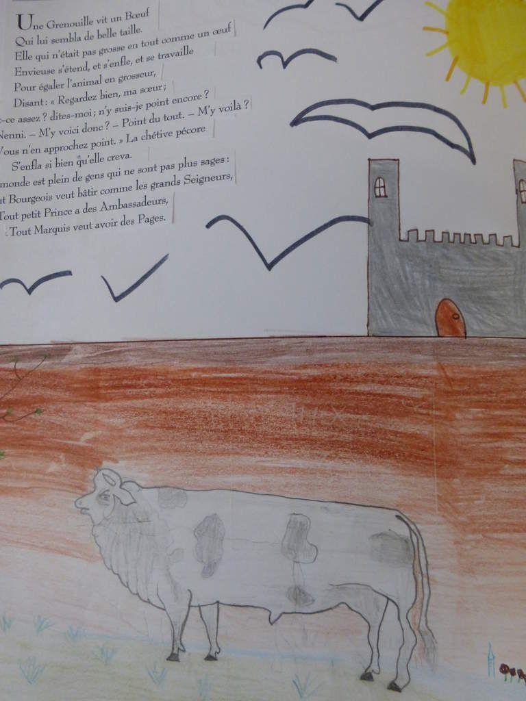 Pour faire le dessin d'un poème : La grenouille qui veut se faire aussi grosse que le boeuf - Jean de La Fontaine